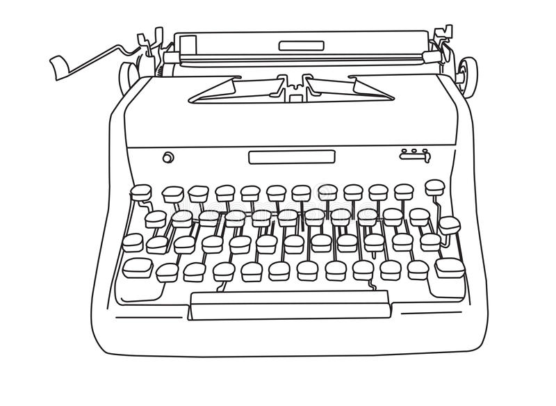 Hand Gezeichnete Retro- Schreibmaschine Stock Abbildung