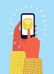 wifi smartphone cartoon holding het sullo commerciale centro nel mall shopping blurred connect screen hand vector vrij piu colorful icons