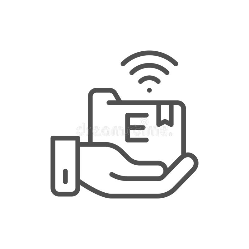 Hand and folder icon stock vector. Illustration of office