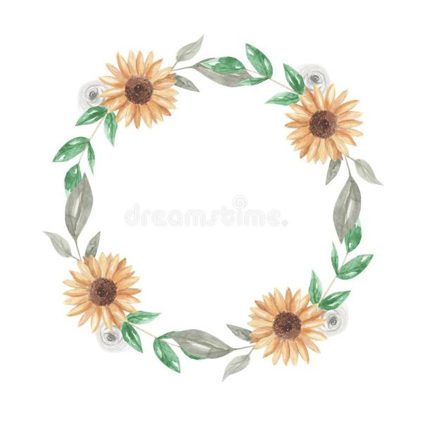 sunflowers watercolor wreath garland