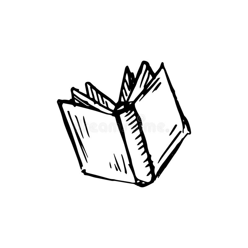 Handdrawn Book Doodle Icon. Hand Drawn Black Sketch. Sign