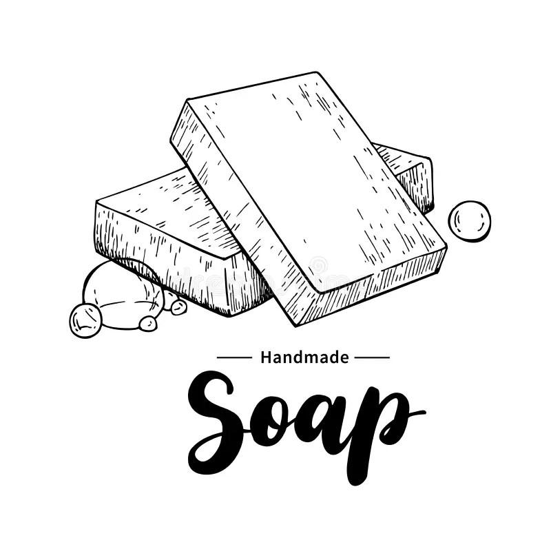 Handmade Natural Soap. Vector Hand Drawn Illustration Of