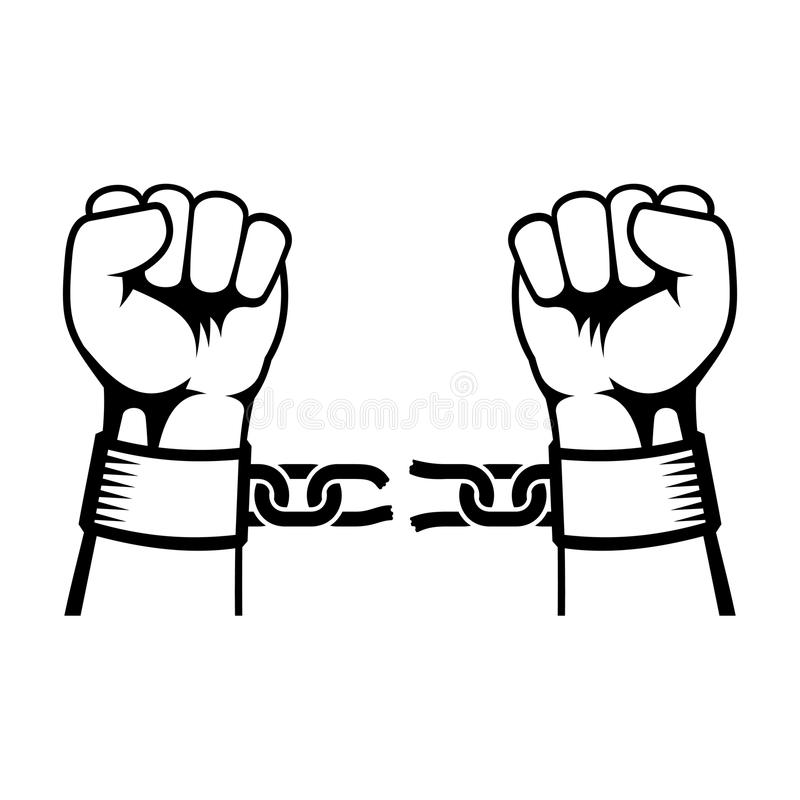 Hands Breaking Steel Chain stock vector. Illustration of