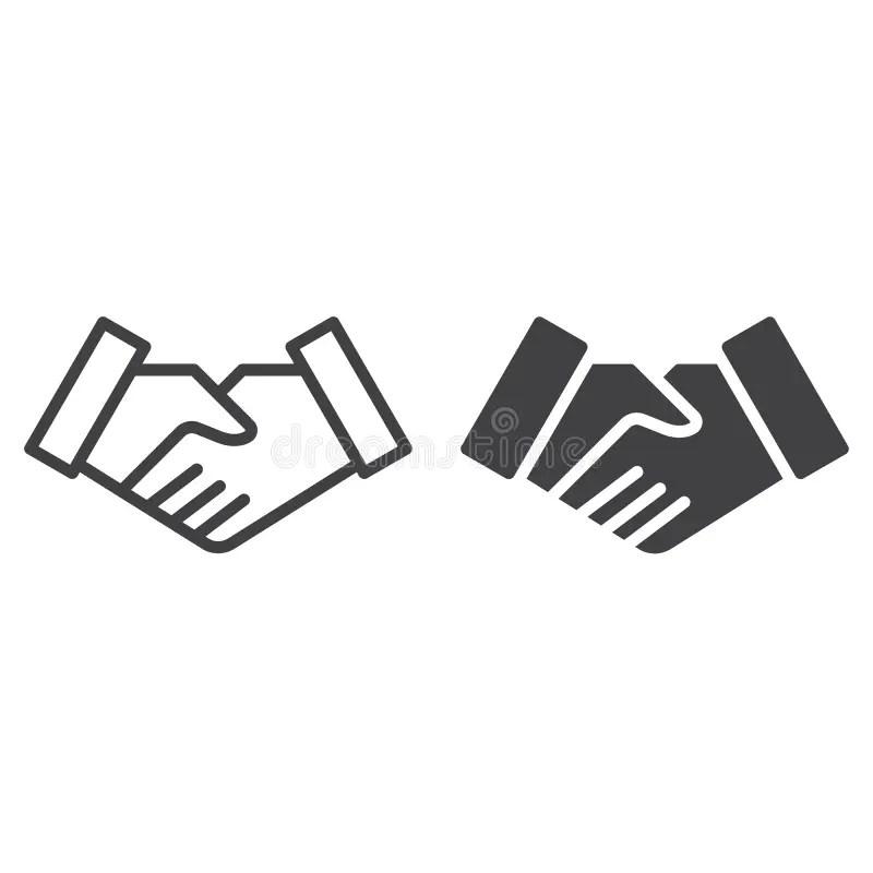 Handshake line icon stock vector. Illustration of