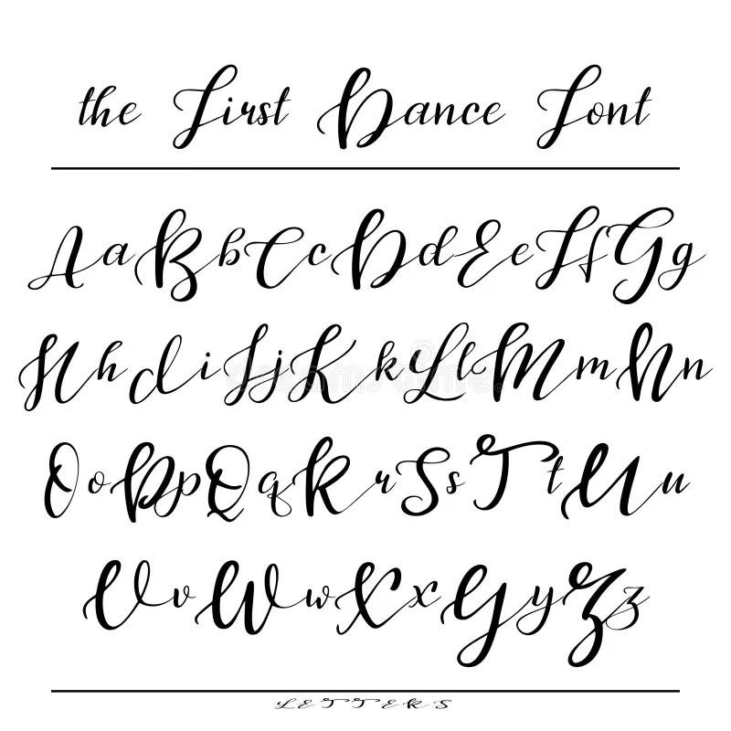 Handwritten Calligraphy Font. Vector Alphabet. Hand Drawn