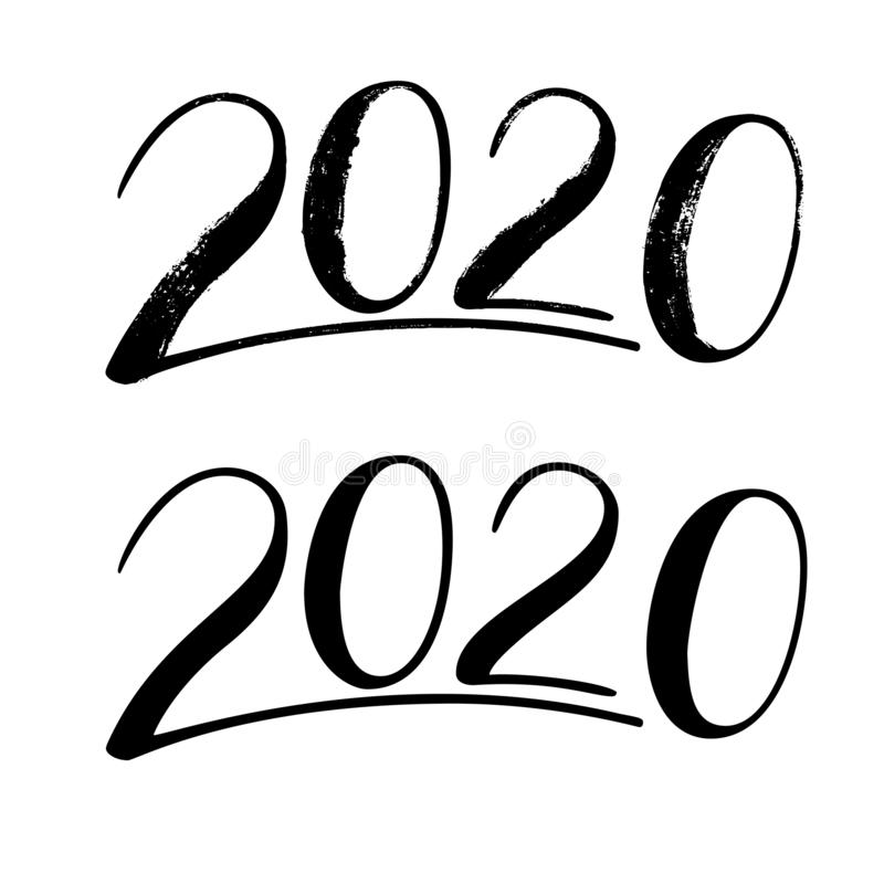 Handwritten Lettering 2020. Hand Drawn Numbers For