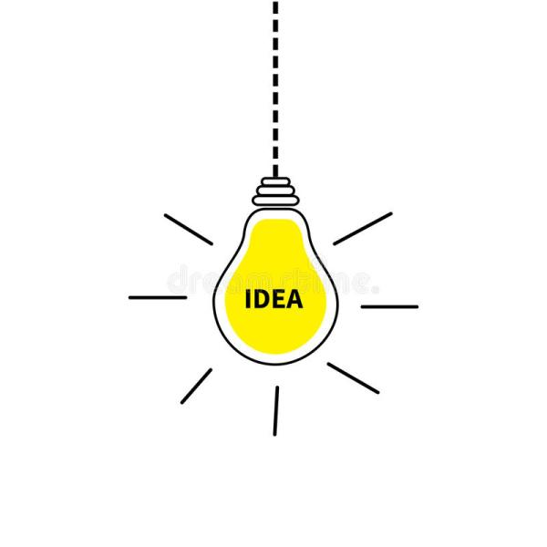 Hanging Light Bulb Icon Idea Text Inside Shining Effect