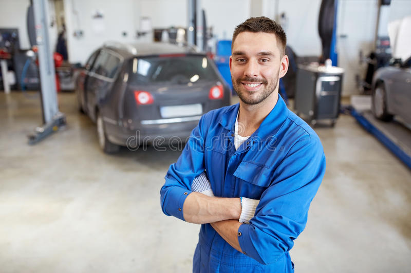 Happy Auto Mechanic Man Or Smith At Car Workshop Stock Photo Image Of Technician Smith 80668874