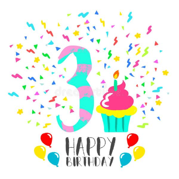 Happy Birthday Cake 3 Years