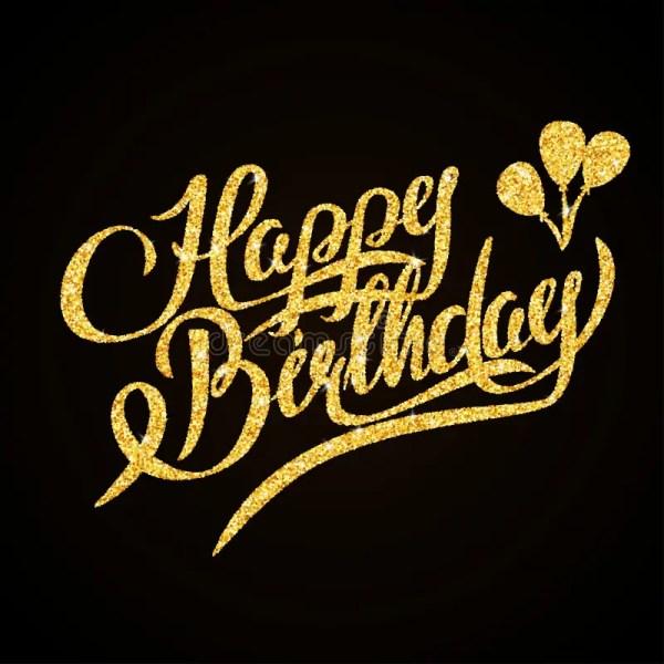 happy birthday - gold glitter hand