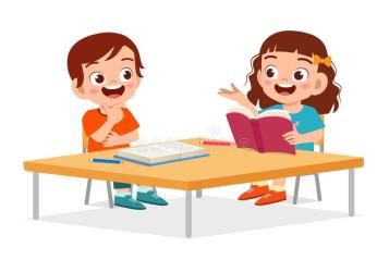 Happy Cute Little Kids Boy And Girl Study Stock Vector Illustration of cartoon character: 170979379