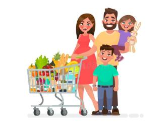 Happy Family With A Grocery Cart Full Of Products Is Shopping At The Supermarket Vector Illustration Stock Illustration Illustration of flat happy: 111300523