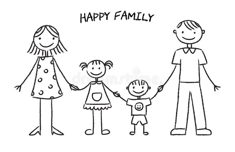 Happy family sketch stock vector. Illustration of