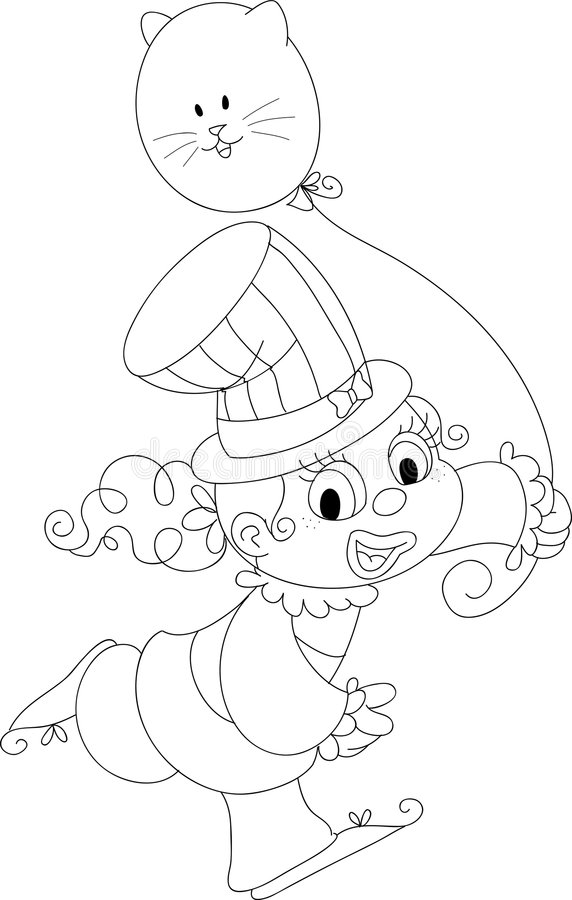 Coloring Happy Girl Clown Royalty Free Stock Images