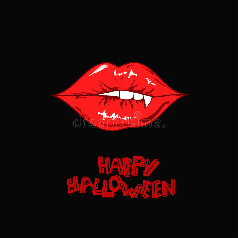 Fall Wallpaper Minimalist Happy Halloween Poster With Vampire Lips Stock Vector