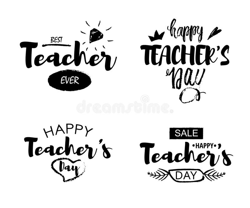 Happy Teacher`s Day Greeting Lettering Quotes On A White