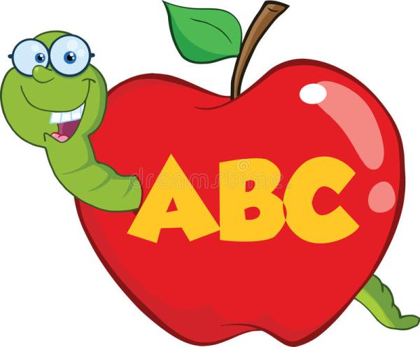 happy worm in red apple with glasses