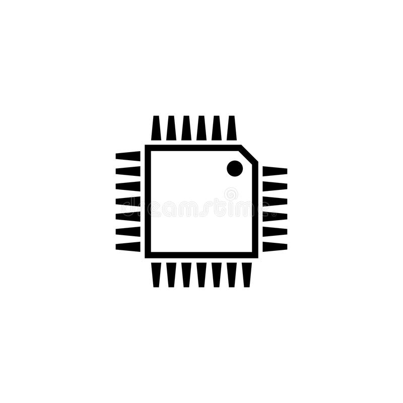 Hardware Processor Chip Flat Vector Icon Stock Vector