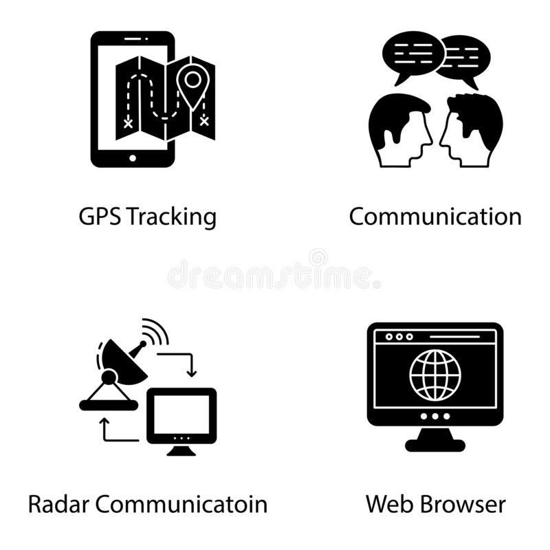 Communication Glyph Icons stock vector. Illustration of