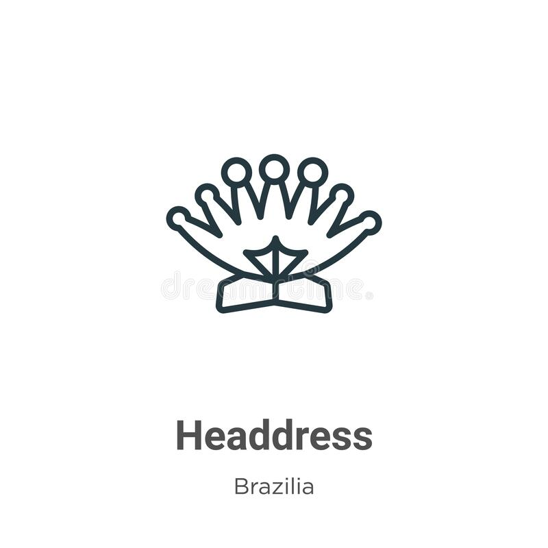 Outline Headdress Vector Icon. Isolated Black Simple Line