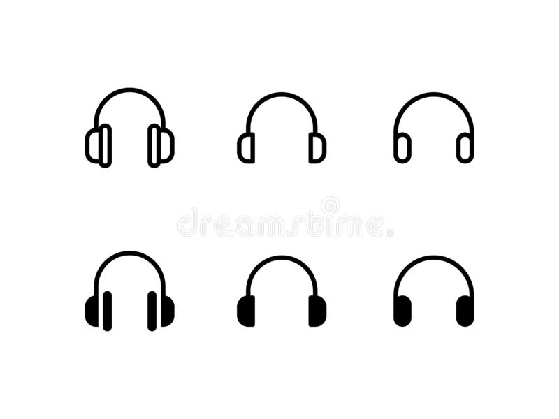 Head phone with cable stock illustration. Illustration of