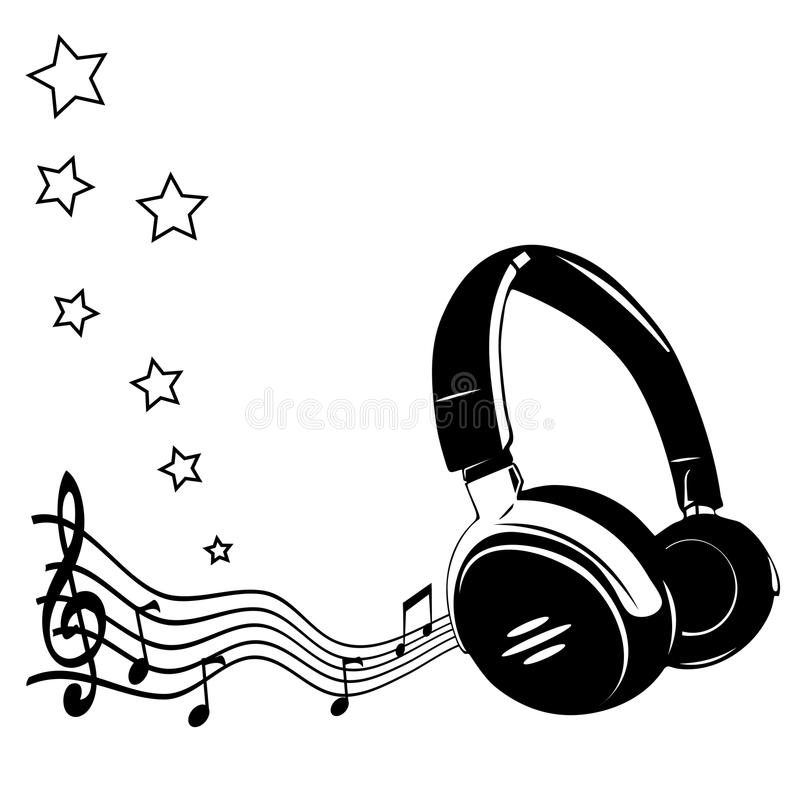Headphones and notes stock vector. Image of headset