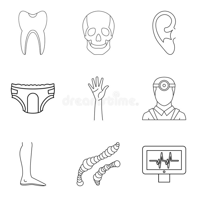 Population Health Icons Set, Outline Style Stock Vector
