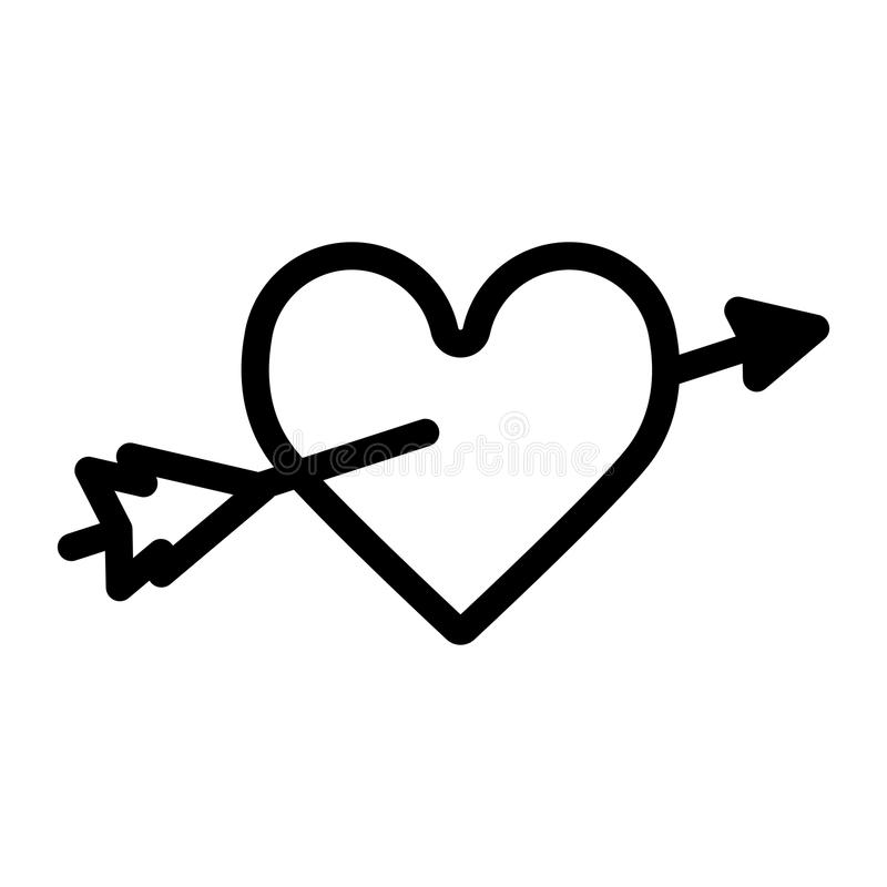 Download Heart With An Arrow Vector Icon. Black And White Love ...