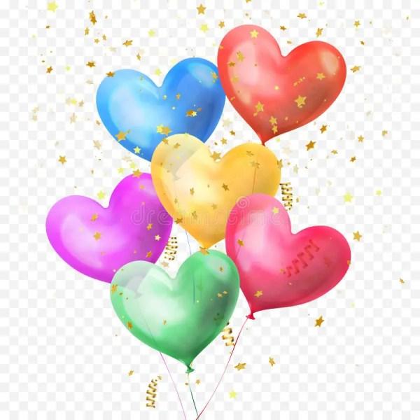 heart balloons bunch and golden