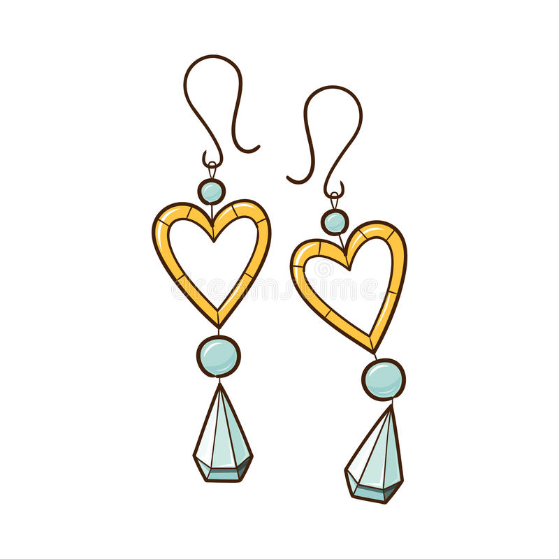 Hearts earrings. stock vector. Illustration of celebrate