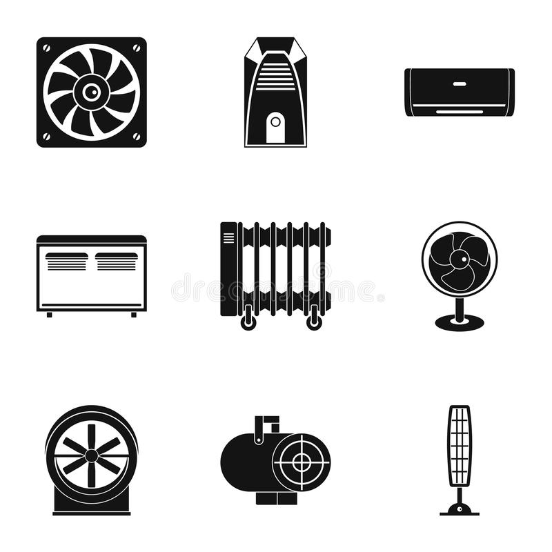 Cooling System Icons Set, Cartoon Style Stock Vector