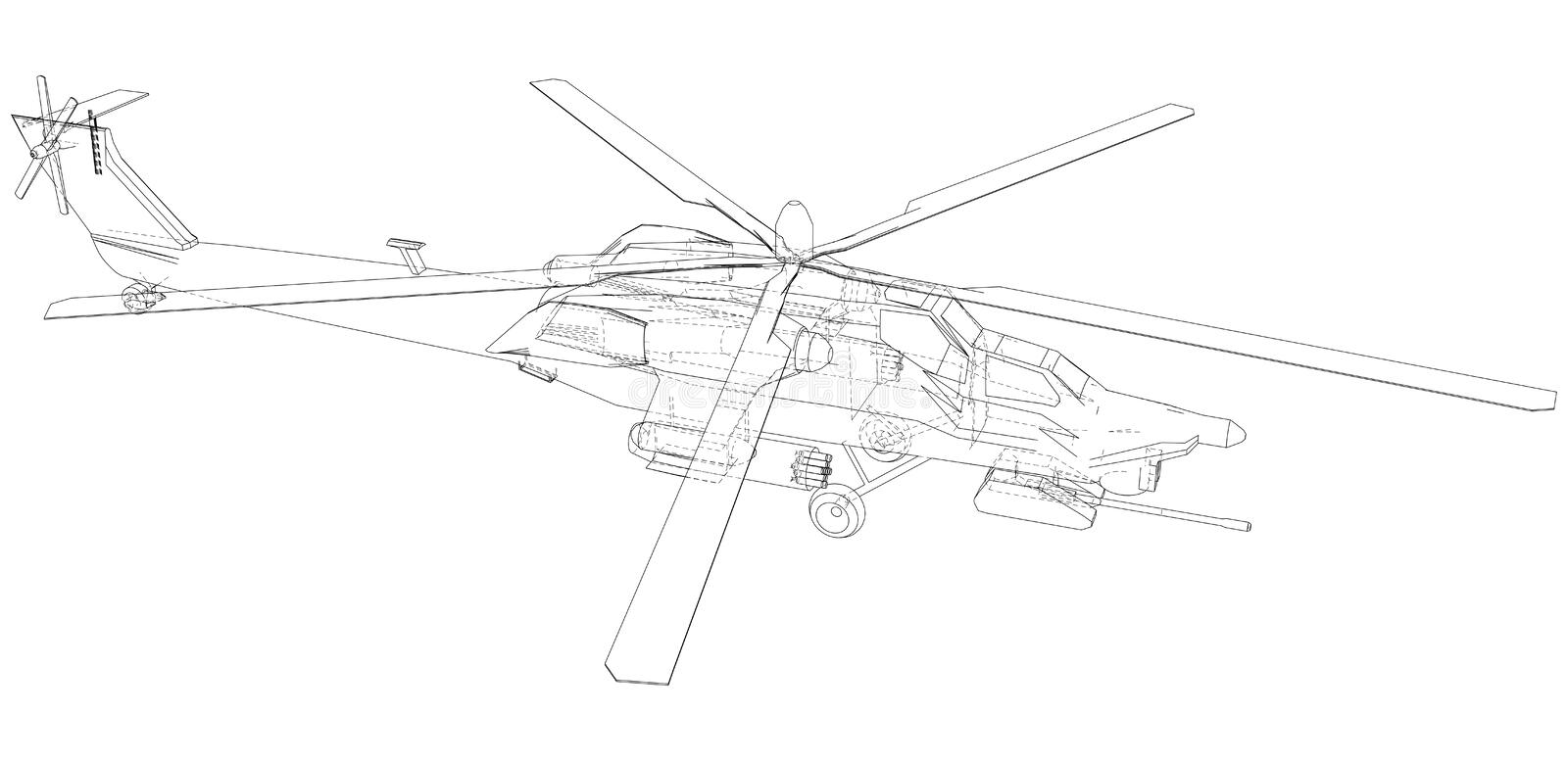 Helicopter. Created Illustration Of 3d. Wire-frame Style