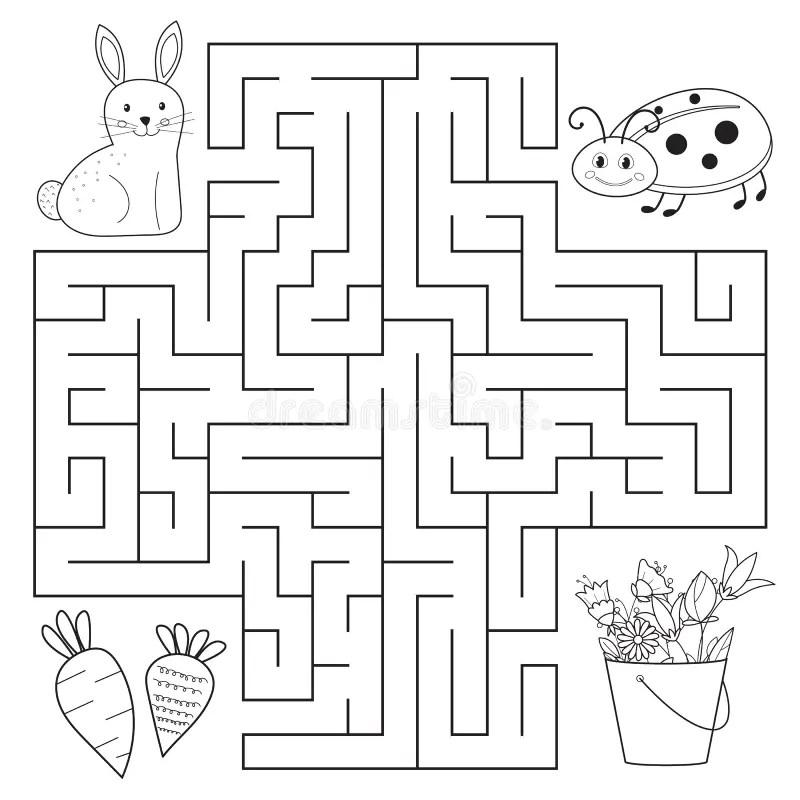 Rabbit Maze Preschool Worksheets Theme Rabbits. Rabbit