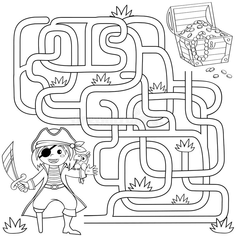 Help Pirate Find Path To Treasure Chest . Labyrinth. Maze
