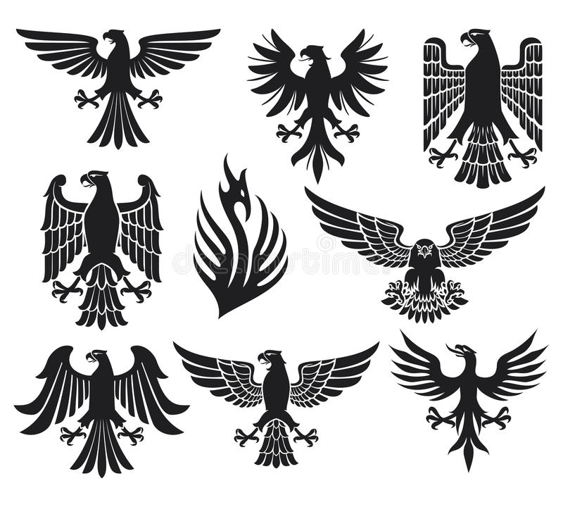 Heraldic eagle set stock vector. Illustration of emblem