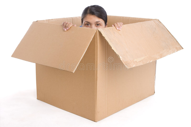 Hiding Inside The Box Stock Photo Image Of Asian