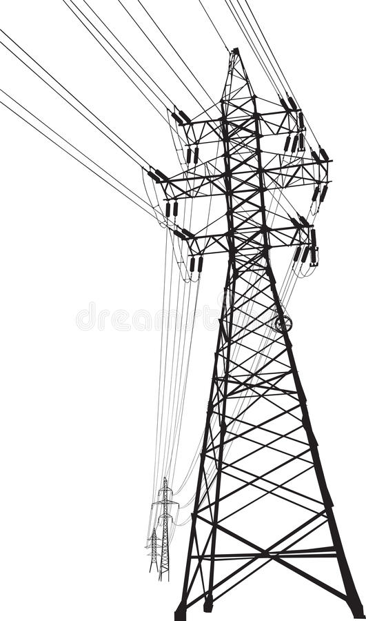 High voltage power line stock vector. Illustration of pole