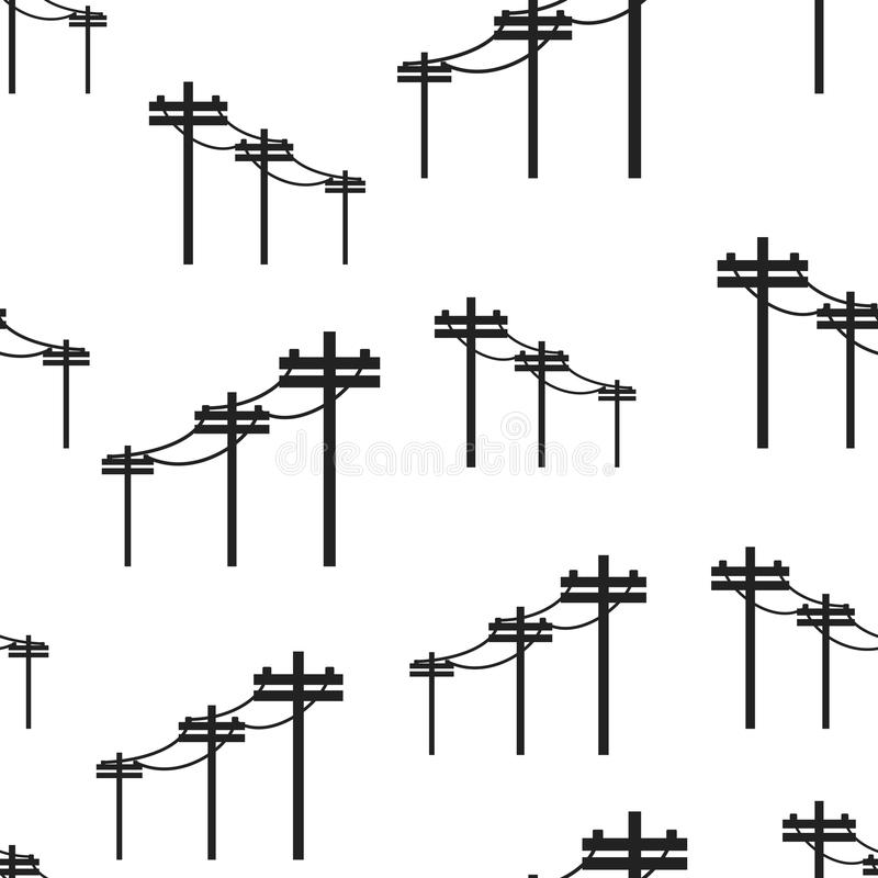 Electric Pole Seamless Pattern Vector Illustration