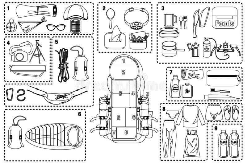 Vector Set Of Cartoon Sticker For Camping In Outline Stock