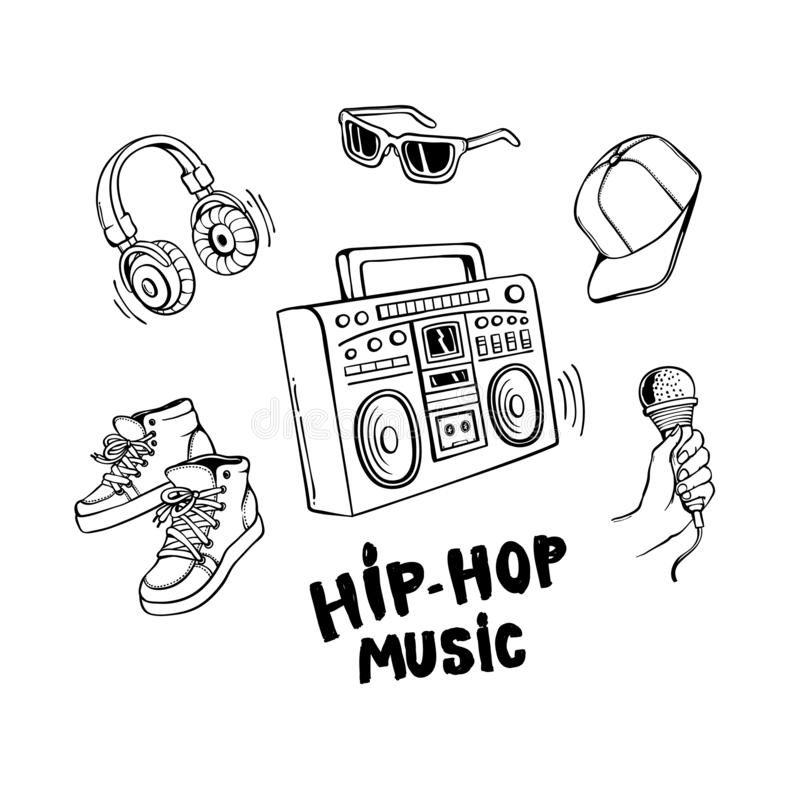 Hip-Hop Music Sign stock vector. Illustration of
