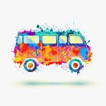 Hippie Bus Clip Art Vector