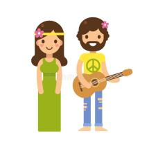 Hippie Clip Art Cartoon Character Couples