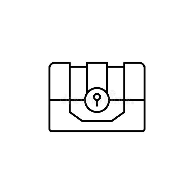 Treasure Chest Line Art stock vector. Illustration of