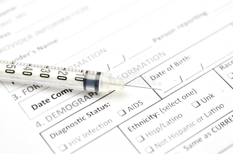 HIV Test form stock image. Image of bill, empty, clinic
