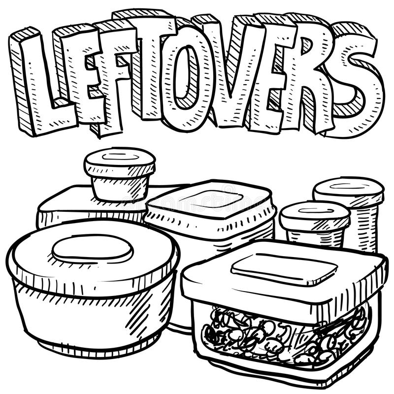 Holiday Leftovers Food Vector Sketch Stock Vector
