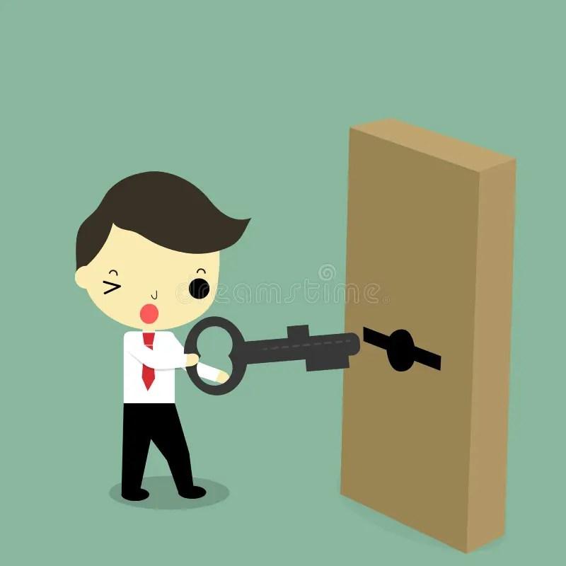 Hombre De Negocios Con Llave Y La Puerta Ilustracin del