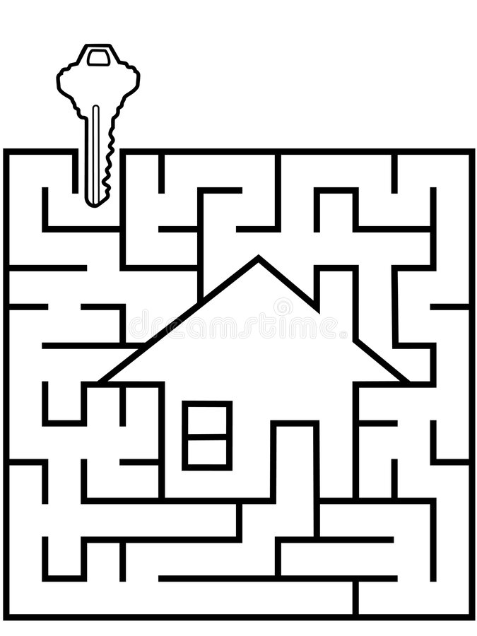 Home Finder Maze Puzzle With House Key Stock Vector