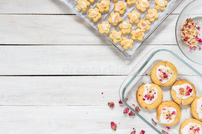 home made rose short bread cookies on white wooden table top with copy space for text stock photo image of kitchen baked 183728818