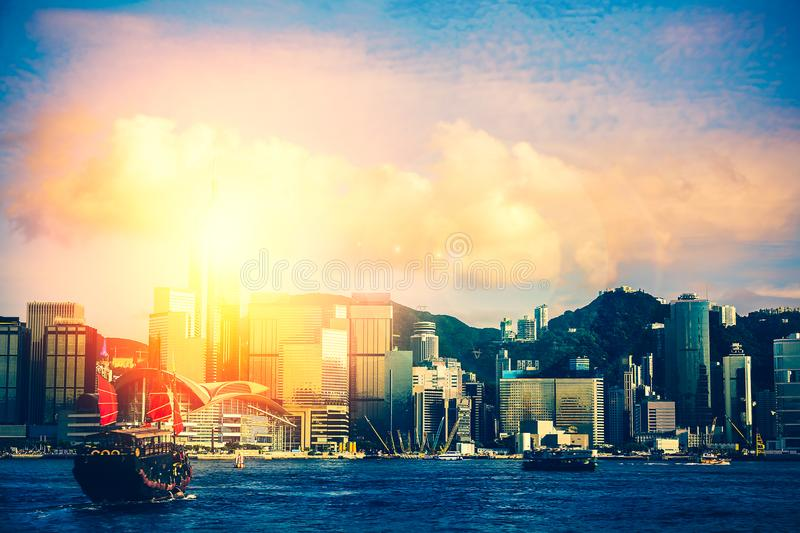 Hong Kong Victoria Harbor Day And Night Stock Image - Image of business. asian: 120016027