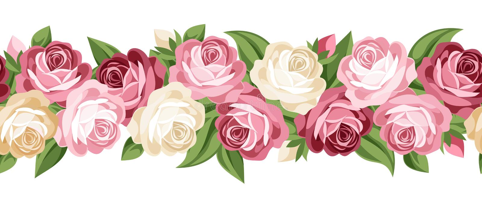 Horizontal Seamless Background With Roses. Stock Vector